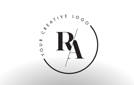 RA Letter Logo Design with Creative Intersected and Cutted Serif Font.
