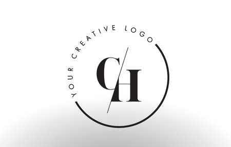 CH Letter Logo Design with Creative Intersected and Cutted Serif Font.
