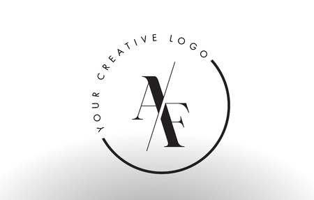 AF Letter Logo Design with Creative Intersected and Cutted Serif Font. Ilustração