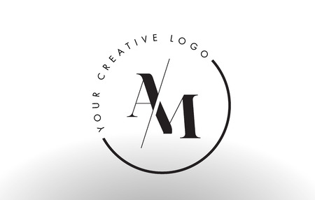 AM Letter Logo Design with Creative Intersected and Cutted Serif Font. Ilustração
