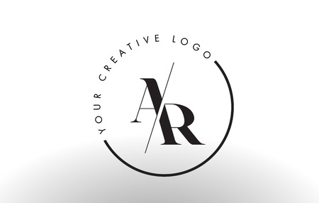 ar: AR Letter Logo Design with Creative Intersected and Cutted Serif Font.