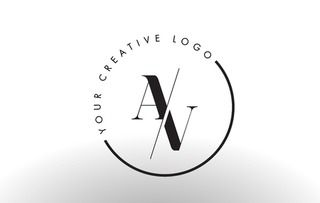 AV Letter Logo Design with Creative Intersected and Cutted Serif Font.