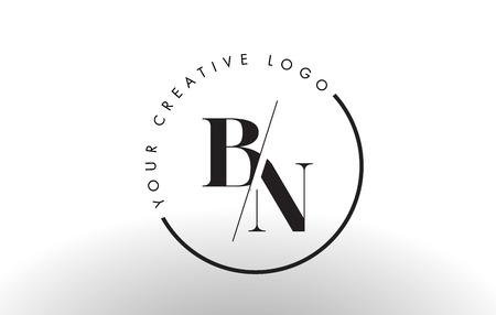 BN Letter Logo Design with Creative Intersected and Cutted Serif Font.