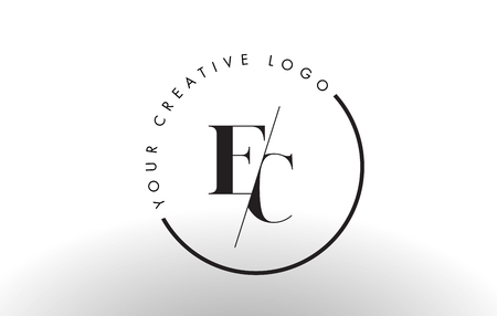 EC Letter Logo Design with Creative Intersected and Cutted Serif Font.