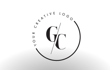 GC Letter Logo Design with Creative Intersected and Cutted Serif Font. Illustration