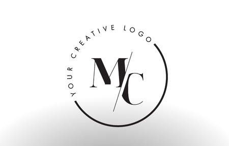 MC Letter Logo Design with Creative Intersected and Cutted Serif Font.
