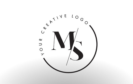 MS Letter Logo Design with Creative Intersected and Cutted Serif Font. Illustration