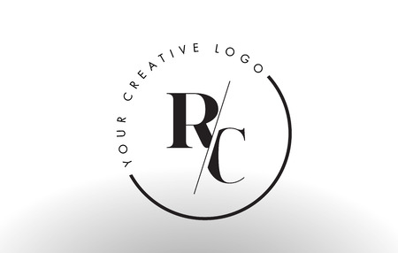 RC Letter Logo Design with Creative Intersected and Cutted Serif Font.