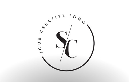 SC Letter Logo Design with Creative Intersected and Cutted Serif Font. Illustration
