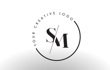 SM Letter Logo Design met Creative Intersected and Cutted Serif Font.