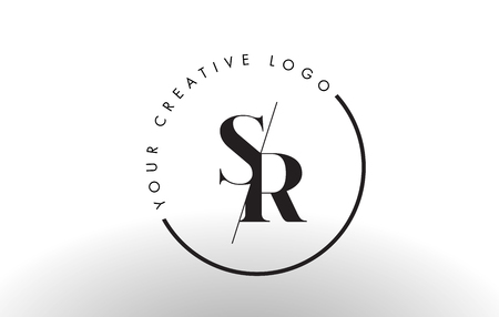 SR Letter Logo Design with Creative Intersected and Cutted Serif Font.