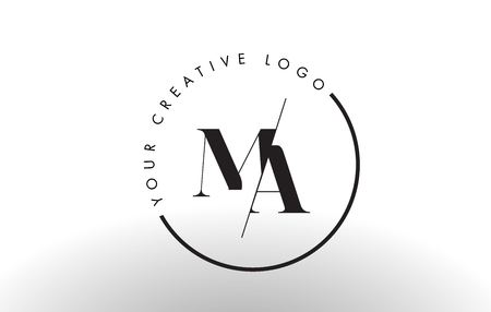 MA Letter Logo Design with Creative Intersected and Cutted Serif Font.