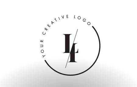 LI Letter Logo Design with Creative Intersected and Cutted Serif Font.