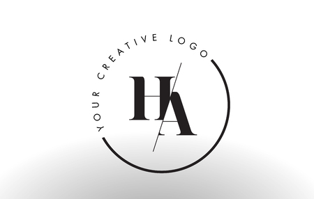 HA Letter Logo Design with Creative Intersected and Cutted Serif Font.
