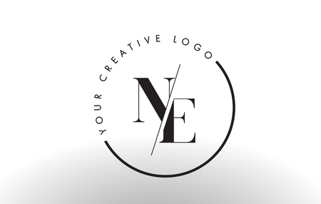 ne: NE Letter Logo Design with Creative Intersected and Cutted Serif Font.