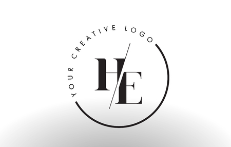 HE Letter Logo Design with Creative Intersected and Cutted Serif Font.