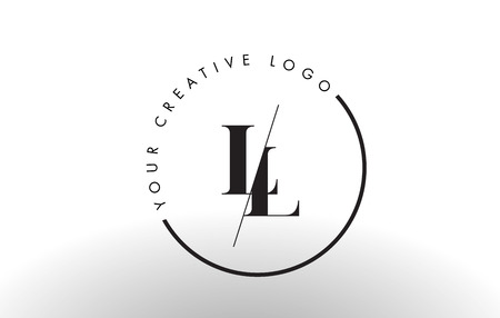 LL Letter Logo Design with Creative Intersected and Cutted Serif Font.