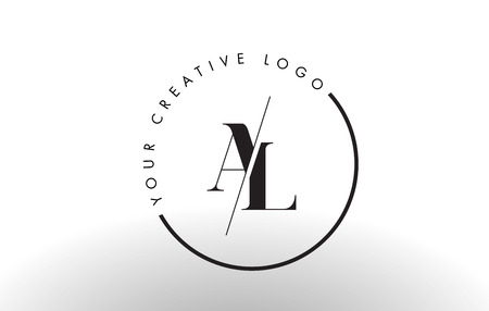 AL Letter Logo Design with Creative Intersected and Cutted Serif Font. Illustration