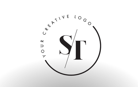 ST Letter Logo Design with Creative Intersected and Cutted Serif Font.