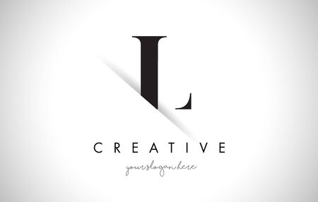 L Letter Logo Design with Creative Paper Cut and Serif Font.
