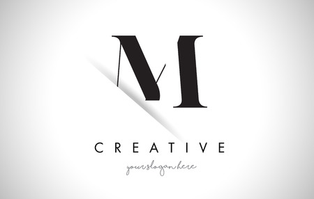 shaddow: M Letter Logo Design with Creative Paper Cut and Serif Font.