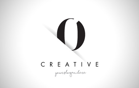 shaddow: O Letter Logo Design with Creative Paper Cut and Serif Font. Illustration