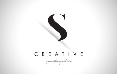 S Letter Logo Design with Creative Paper Cut and Serif Font.