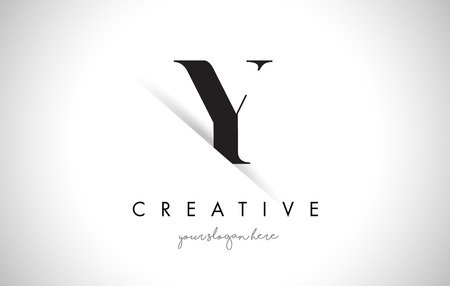shaddow: Y Letter Logo Design with Creative Paper Cut and Serif Font.