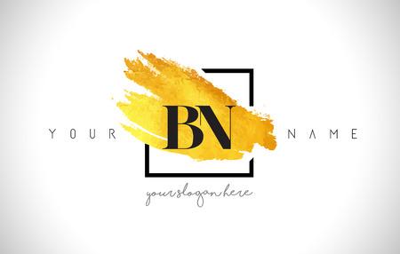 BN Golden Letter Design with Creative Gold Brush Stroke and Black Frame.