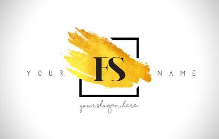FS Golden Letter Design with Creative Gold Brush Stroke and Black Frame.