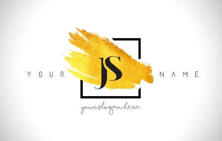 JS Golden Letter  Design with Creative Gold Brush Stroke and Black Frame.
