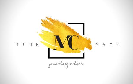 MC Golden Letter Design with Creative Gold Brush Stroke and Black Frame.