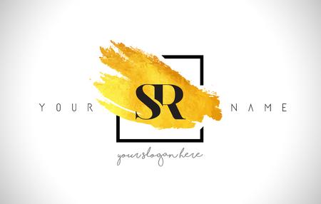 SR Golden Letter Design with Creative Gold Brush Stroke and Black Frame. Ilustrace