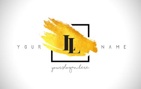 LL Golden Letter Design with Creative Gold Brush Stroke and Black Frame. Vektoros illusztráció
