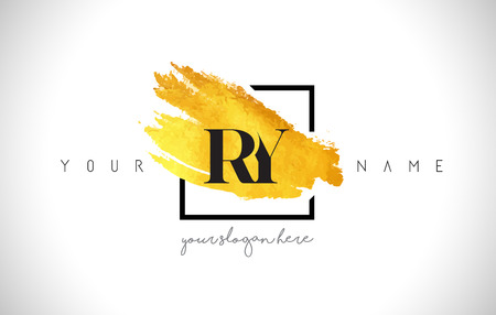 ry: RY Golden Letter Design with Creative Gold Brush Stroke and Black Frame.