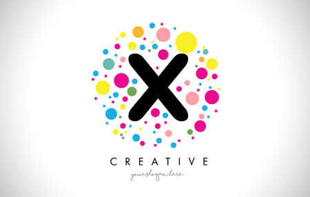 X Bubble Dots Letter Logo Design with Rainbow Creative Colorful Bubbles.
