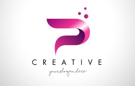 紫の色とドット P 文字ロゴ デザイン テンプレート