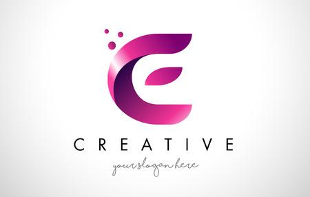 E Letter Logo Design Template with Purple Colors and Dots Ilustração