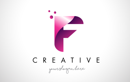 F Letter Logo Design Template with Purple Colors and Dots Vectores