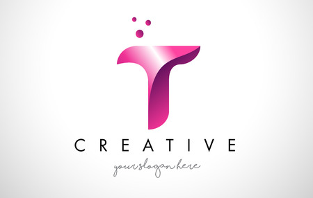 T Letter Logo Design Template with Purple Colors and Dots 일러스트