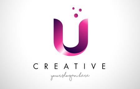 Modèle de conception de Logo lettre U avec des couleurs et des points pourpres Banque d'images - 74561635