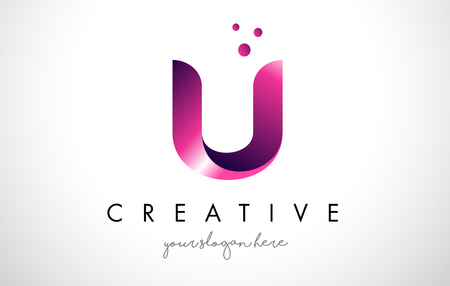 U Letter Logo Design Template with Purple Colors and Dots