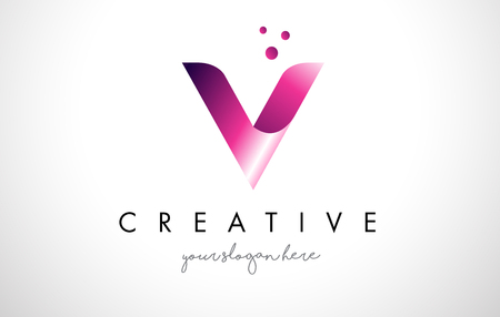 V Letter Logo Design Template with Purple Colors and Dots