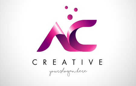 AC Letter Logo Design Template with Purple Colors and Dots