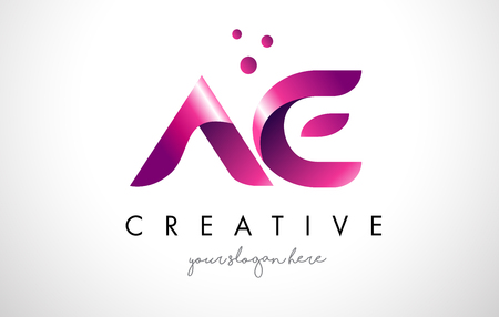 AE Letter Logo Design Template with Purple Colors and Dots