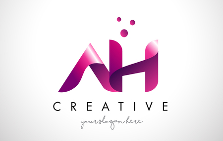 AH Letter Logo Design Template with Purple Colors and Dots