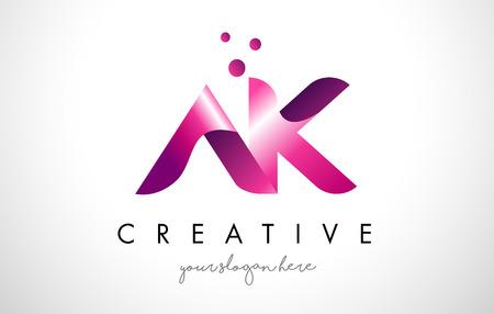 AK Letter Logo Design Template with Purple Colors and Dots Illusztráció