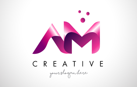 AM Letter Logo Design Template with Purple Colors and Dots