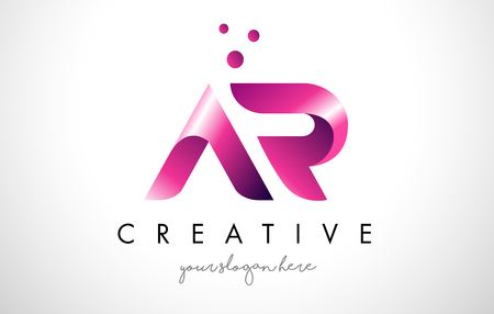 AR Letter Logo Design Template with Purple Colors and Dots