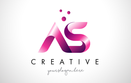 AS Letter Logo Design Template with Purple Colors and Dots